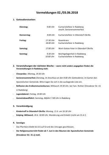 Vermeldungen KW23/18 - Berichtigte Version