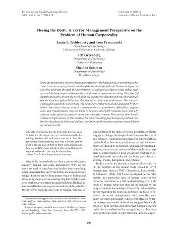 Fleeing the Body: A Terror Management Perspective on the ... - plaza