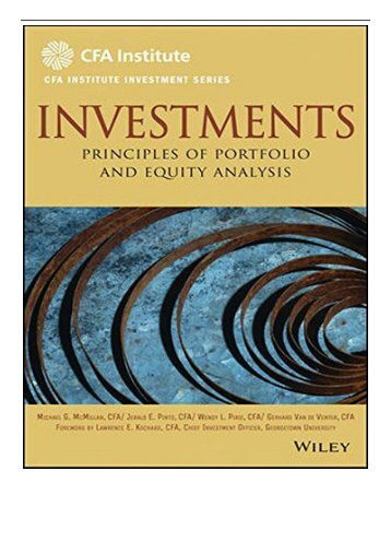 eBook Investments Principles of Portfolio and Equity Analysis CFA Institute Investment Series Free online