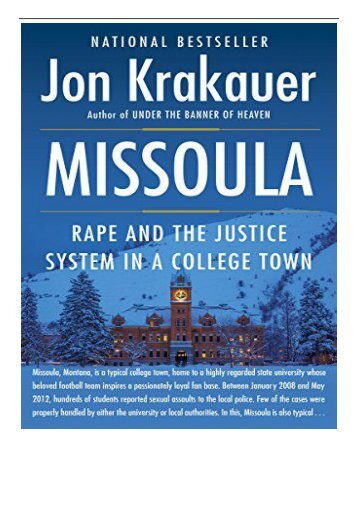 eBook Missoula Rape and the Justice System in a College Town Free books