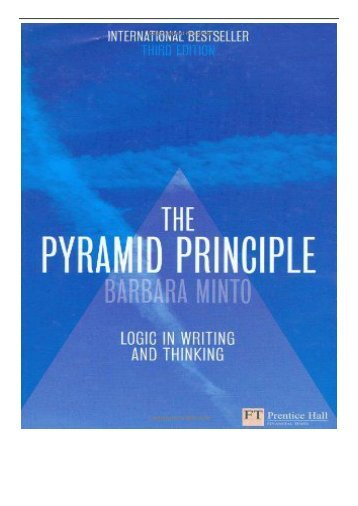 eBook The Pyramid Principle Logic in Writing and Thinking Free books