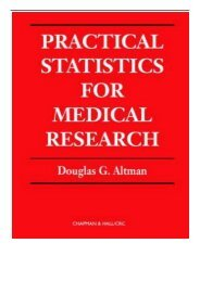PDF Download Practical Statistics for Medical Research Chapman  Hall CRC Texts in Statistical Science