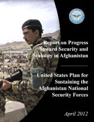 Report on Progress Toward Security and Stability in - United States ...