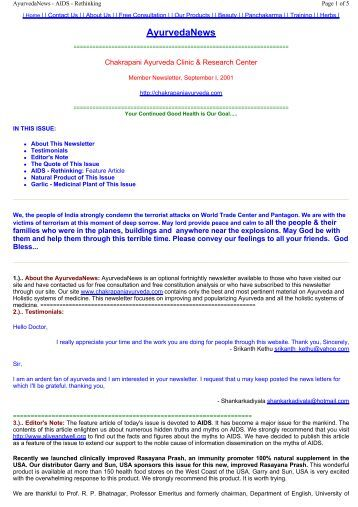 AyurvedaNews - Chakrapani Ayurveda Clinic & Research Center