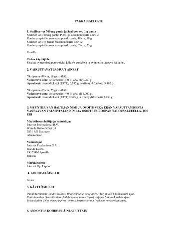 PAKKAUSSELOSTE 1. Scalibor vet 760 mg panta ja Scalibor vet 1 g ...