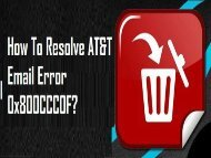 How to Fix AT&T Email Error 0x800CCC0F? 1-800-213-3740