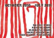 OCTOBER 2010 - JULY 2011 - Oldcastle Books