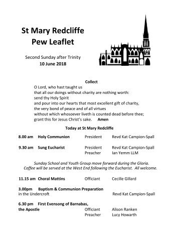 St Mary Redcliffe Church Pew Leaflet - June 10 2018