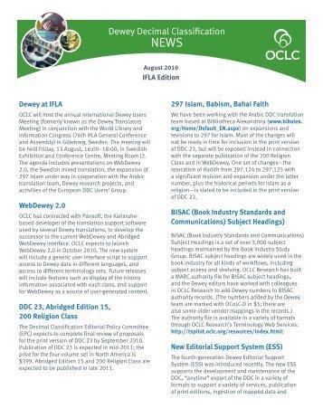 Dewey Decimal Classification - OCLC