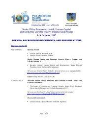 Senior Policy Seminar on Health, Human Capital and ... - PAHO/WHO