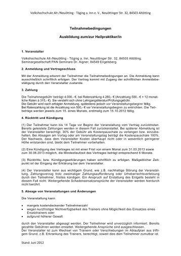 Teilnahmebedingungen - Volkshochschule Alt-/Neuötting