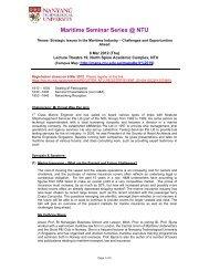Maritime Seminar Series @ NTU - Nanyang Technological University
