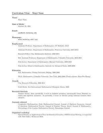 Curriculum Vitae – Xinyi Yuan - Department of Mathematics