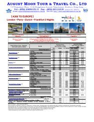 A380 TO EUROPE - August Moon Tour & Travel Co Ltd