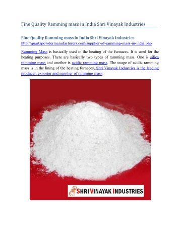 Fine Quality Ramming mass in India Shri Vinayak Industries