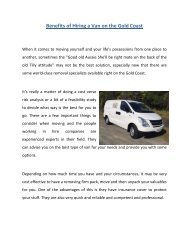 Benefits of Hiring a Van on the Gold Coast