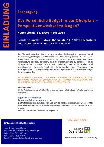 Einladung Fachtag PB in der Oberpfalz