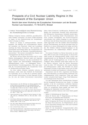 Prospects of a Civil Nuclear Liability Regime in the Framework of the ...