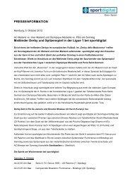 PRESSEINFORMATION Mailänder Derby und ... - Sportdigital