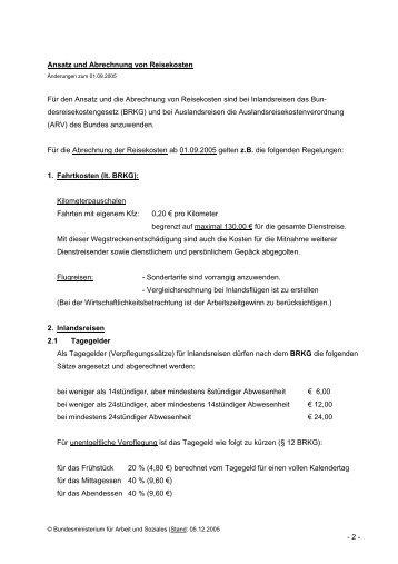 - 2 - Ansatz und Abrechnung von Reisekosten Für den Ansatz und ...