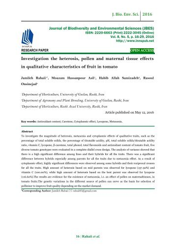 Investigation the heterosis, pollen and maternal tissue effects in qualitative characteristics of fruit in tomato
