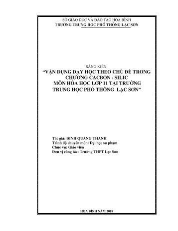 """Vận dụng dạy học theo chủ đề trong chương """"Cacbon - Silic"""" môn Hóa học lớp 11 tại trường Trung học phổ thông Lạc Sơn"""
