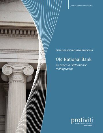 Old National Bank -- A Leader in Performance Management - Protiviti
