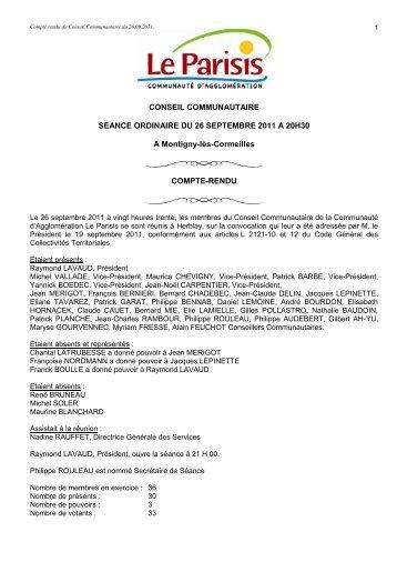 Compte rendu du Conseil Communautaire du 26.09.2011