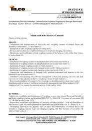 Main activities for Ilva Taranto - IN.COsas INDUSTRIAL CONSULTING
