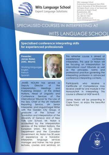 Principles and practice of interpreting - Wits Language School