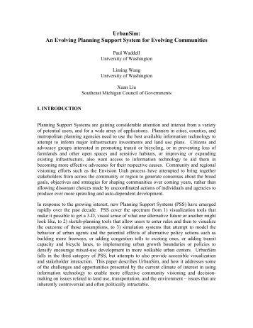 UrbanSim: An Evolving Planning Support System for Evolving ...