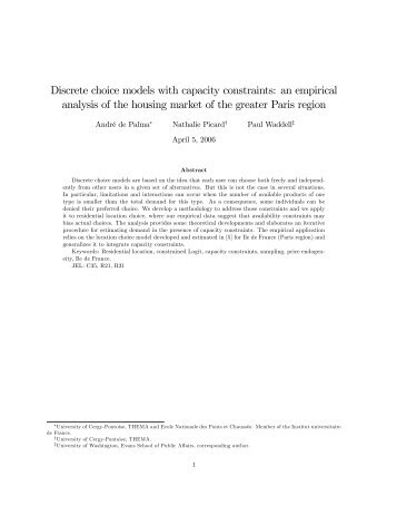 Discrete choice models with capacity constraints: an ... - UrbanSim