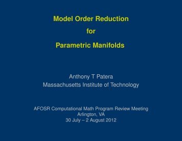 Model Order Reduction for Parametric Manifolds - AT Patera @ MIT ...