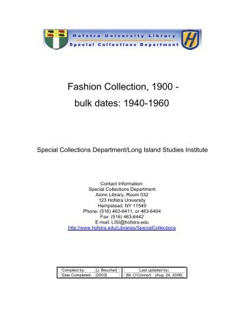 Fashion Collection, 1900 - Hofstra University