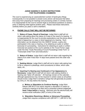 Instructions for Telephoning Chambers - Central District of California