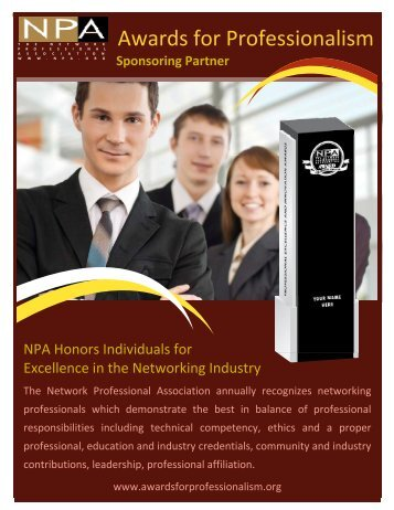Sponsoring Partner - Awards for Professionalism
