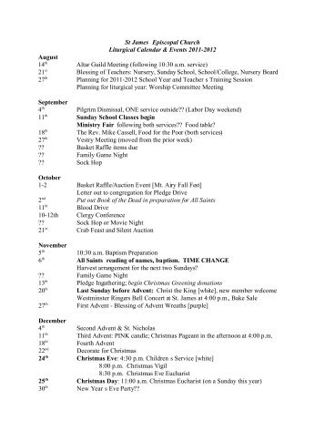 St James Episcopal Church Liturgical Calendar & Events 2011-2012 ...