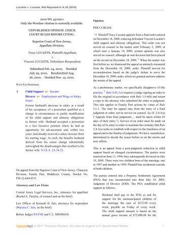 Lucante v. Lucante - Appellate Law NJ Blog