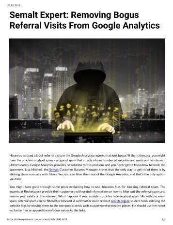 Semalt Expert - Removing Bogus Referral Visits from Google Analytics