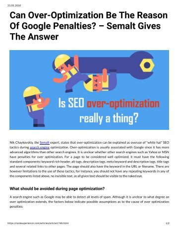 Can Over-Optimization Be The Reason of Google Penalities - Semalt Give The Answer