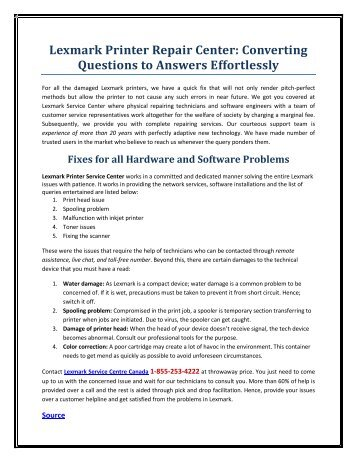 Lexmark Printer Repair Center: Converting Questions to Answers Effortlessly