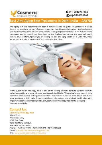 Best Anti Aging Skin Treatment In Delhi India – AAYNA