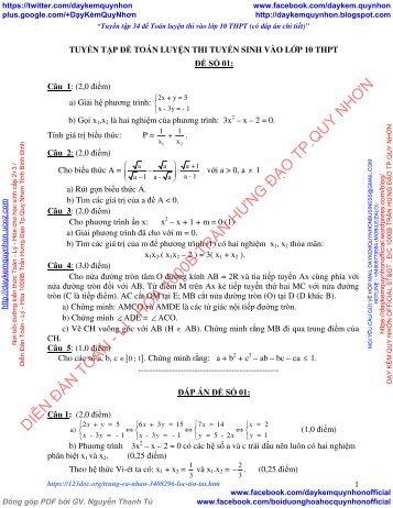 Tuyển tập 34 đề Toán luyện thi vào lớp 10 THPT (Có đáp án chi tiết)
