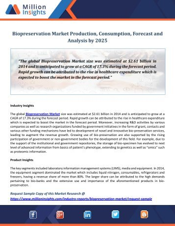Biopreservation Market Production, Consumption,Forecast and Analysis by 2025