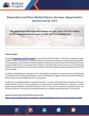 Disposable Lead Wires Market Players, Revenue, Opportunities and Forecast by 2025