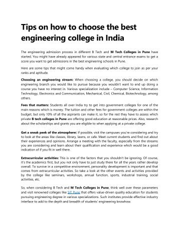 Tips to choose the best engineering college for you in India