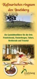 Kulinarisches ringsum den Inselsberg - Friedrichroda