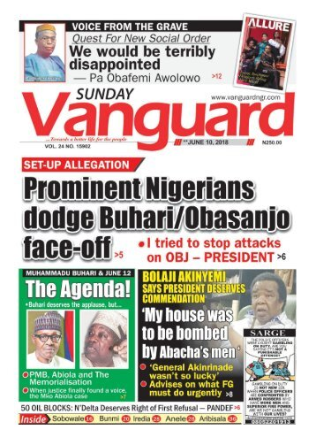 10062018 - SET UP ALLEGATION: Prominent Nigerians dodge Buhari/Obasanjo face off