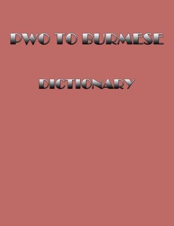 Pwo-Burmese dictionary