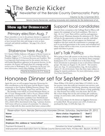 2012 Calendar - Benzie Democrats